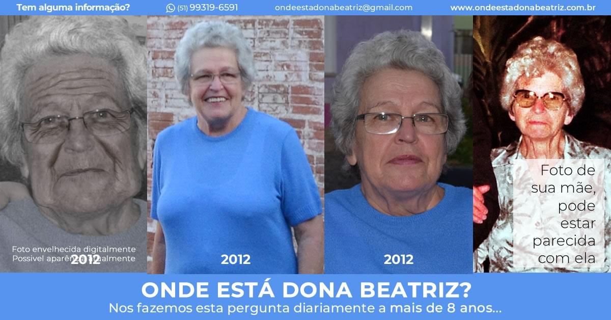 Nome completo: Beatriz Joana Von Hohendorff Winck - Idade: 85 anos - Última vez vista: Santuário de Aparecida/SP. - Características: Cabelos curtos, grisalhos e encaracolados, olhos azuis, pele branca, 1,65m de altura e cicatriz no pescoço. - Idioma: Português e Alemão - Desaparecida desde: 21/10/2012